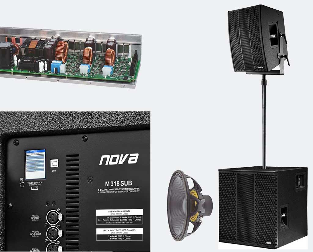 NOVA M318SUB – это новый мощный сабвуфер с НЧ-громкоговорителем 18'', в котором объединены все мечты и чаяния прокатных компаний, музыкальных групп и инсталляторов